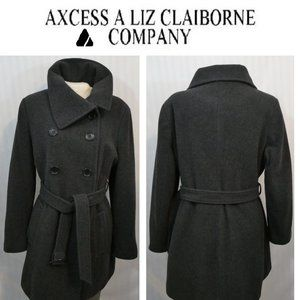 AXCESS Liz Claiborne Wool Blend Trench Jacket Coat